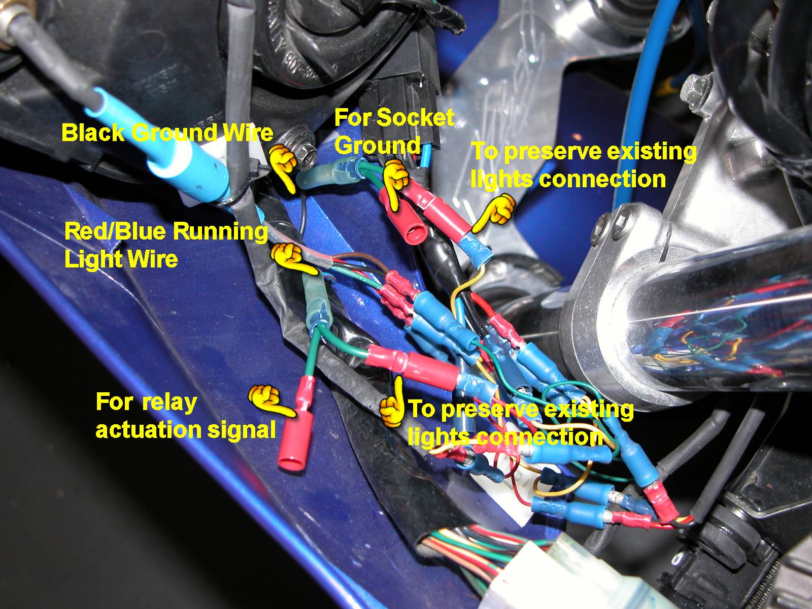 Cigarette Lighter Socket Installation Along With Fishing Reel Parts Diagram Double Pole Relay Connect The Activation Wire From Red Blue Side Light To Area Run It Fairing Under Voltage Regulator And Across