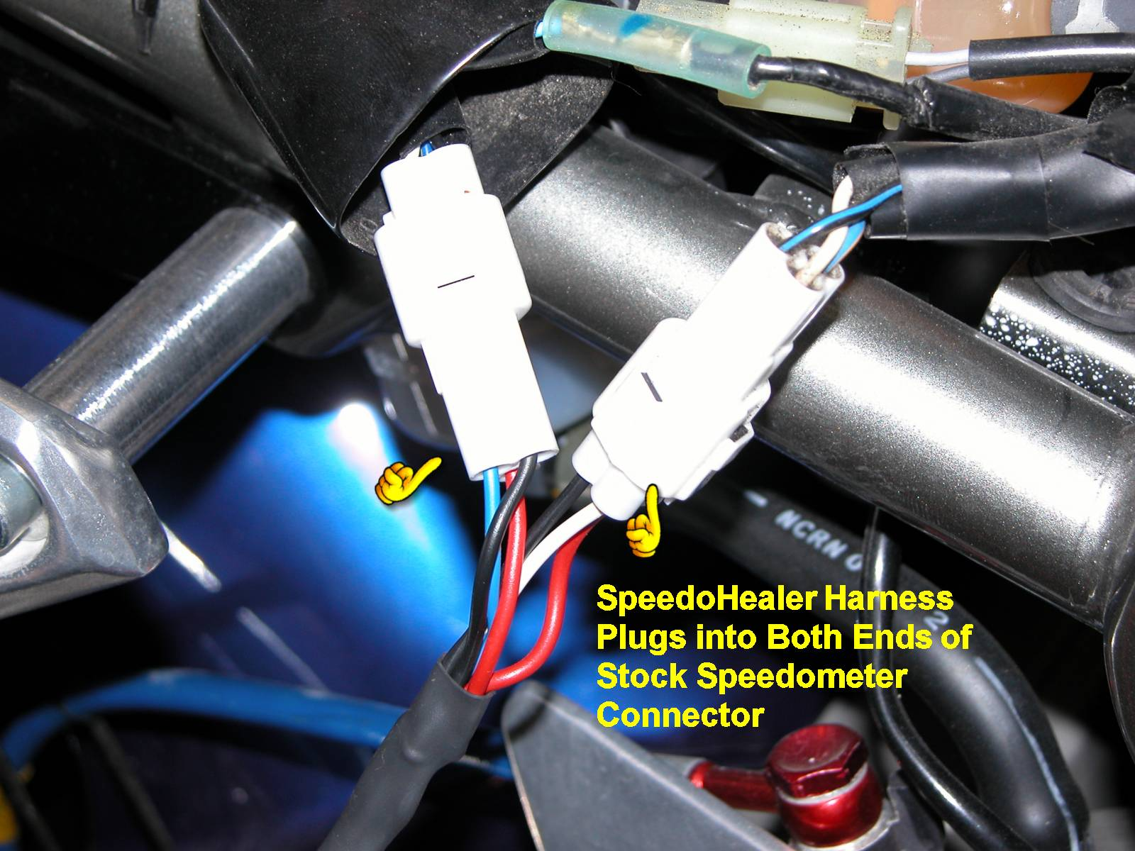 Installation Of Speedohealer Speedometer Recalibrator Yamaha Wire Harness Connectors You Can Lay The Anywhere On Top Bike Temporarily Plug In Other End Main As Well Long Remote Switch